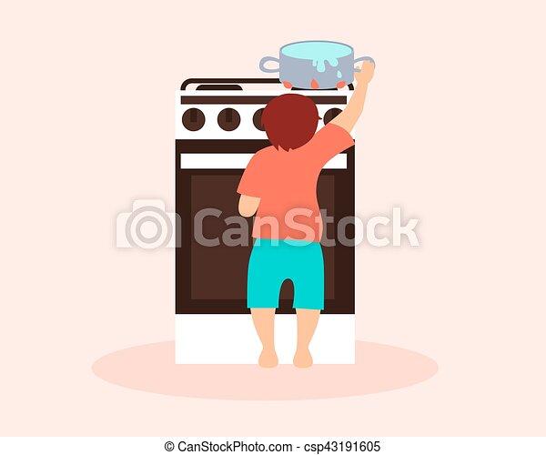 Boy playing with a hot saucepan - csp43191605