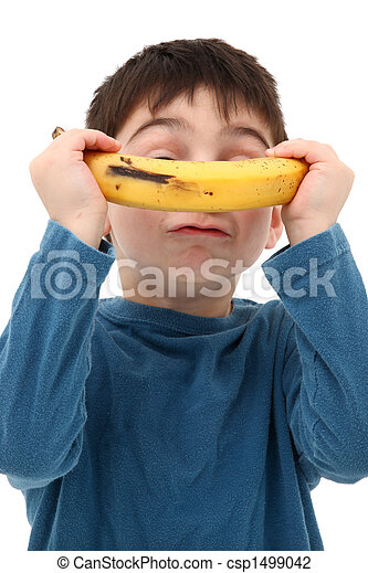 Boy Playing with Banana - csp1499042