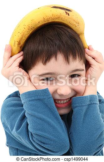 Boy Playing with Banana - csp1499044