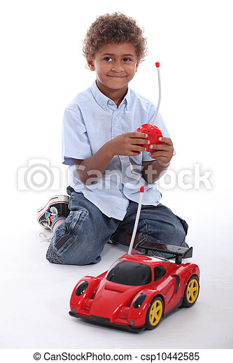 Boy playing with car - csp10442585