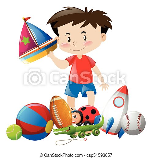 Boy Playing With Many Toys Illustration