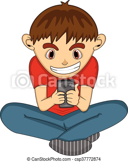 Kids Play Cell Phone Cartoon
