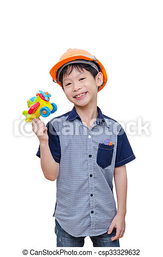boy playing with plane toy - csp33329632