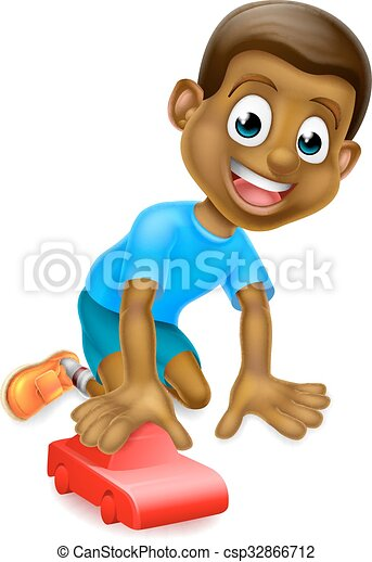 Boy playing with toy car. A cartoon young black boy child