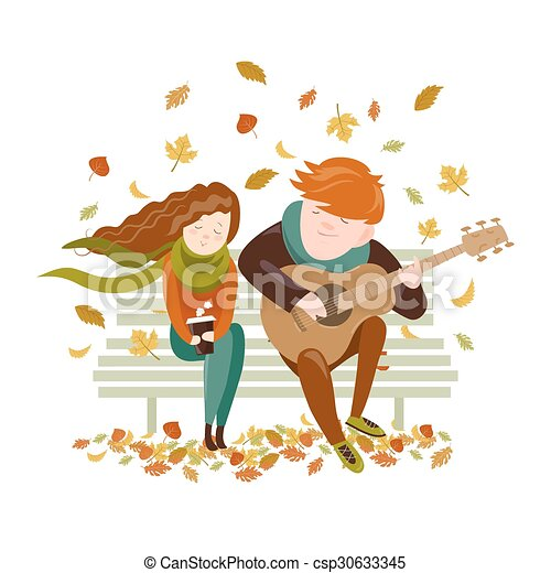 Boy plays guitar for a girl in the autumn park - csp30633345