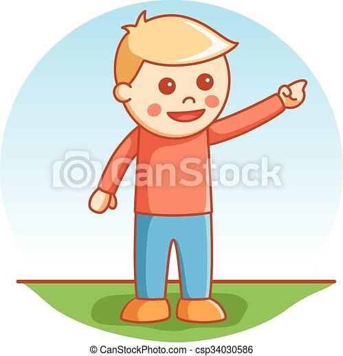 Boy pointing pose - csp34030586