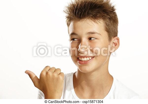 boy pointing - csp15871304