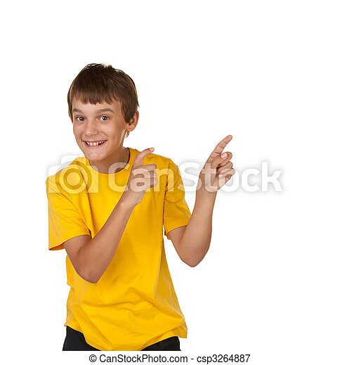 boy pointing to copyspace - csp3264887