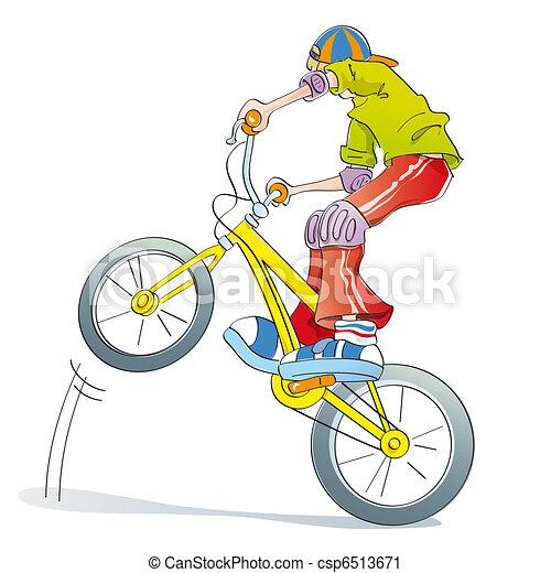 boy practicing bike pirouettes - csp6513671