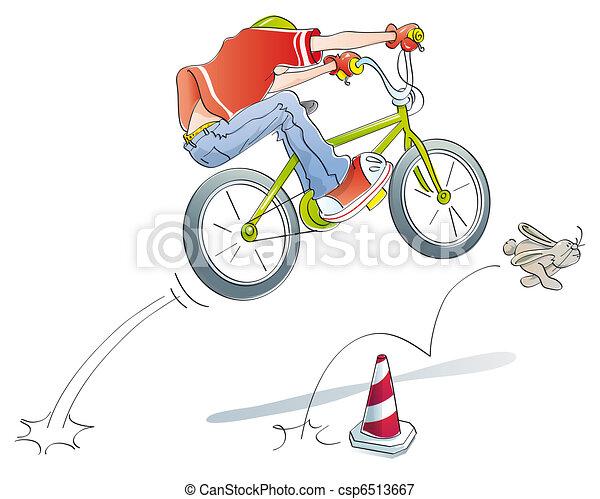 boy practicing jumps bike - csp6513667
