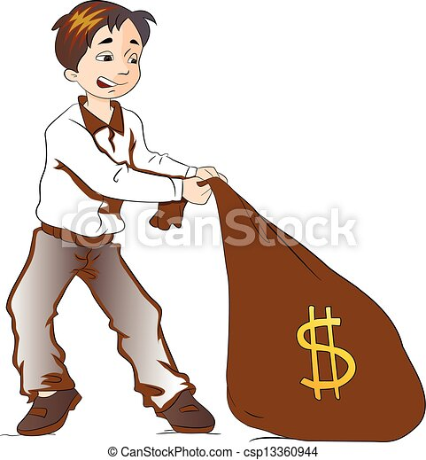 Boy Pulling a Sack of Money, illustration - csp13360944