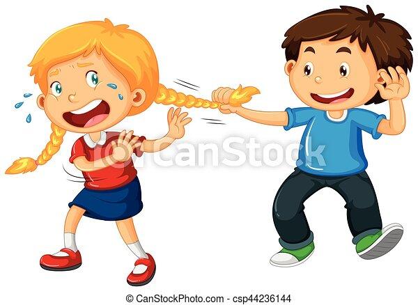 Boy pulling girl hair - csp44236144