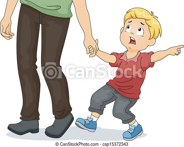 Boy Pulling His Father's Hands - csp15372343