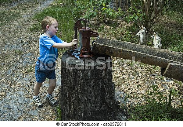 Boy pumping water - csp0372611