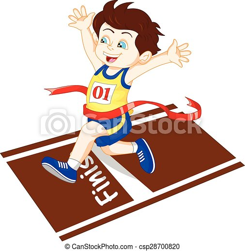 Boy ran to the finish line first - csp28700820