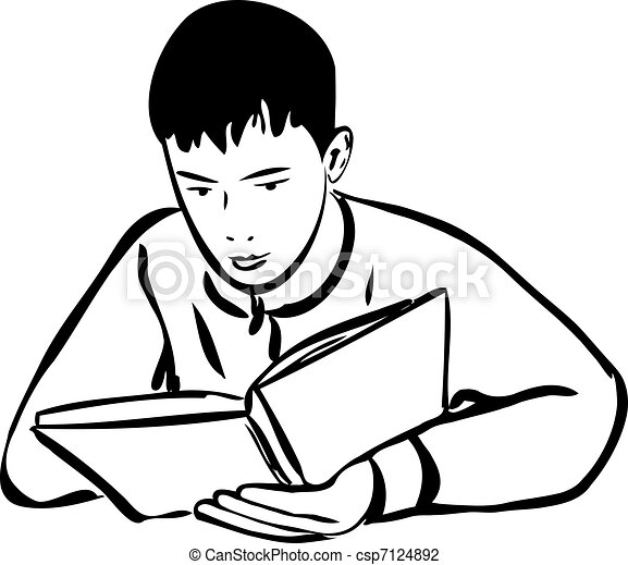 Boy Reading A Book Outline