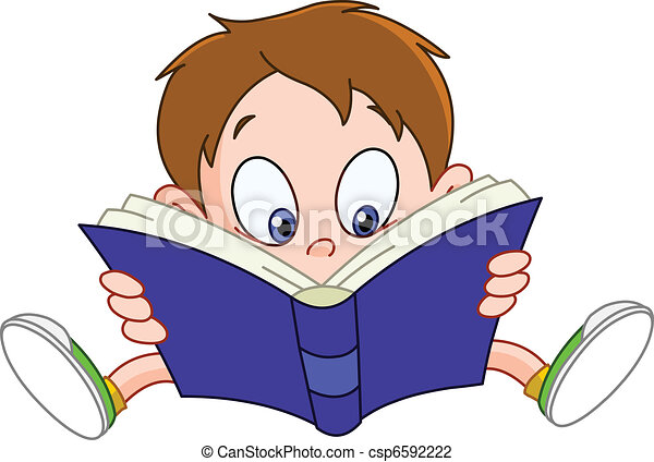 boy reading book young boy reading a book vector illustration rh canstockphoto com girl reading a book clipart reading a book clipart black and white