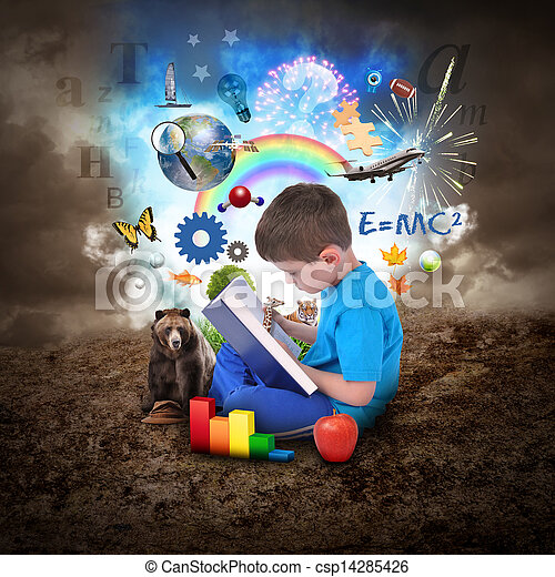 Boy Reading Book with Education Objects - csp14285426
