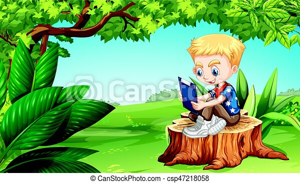 Boy reading in the park - csp47218058