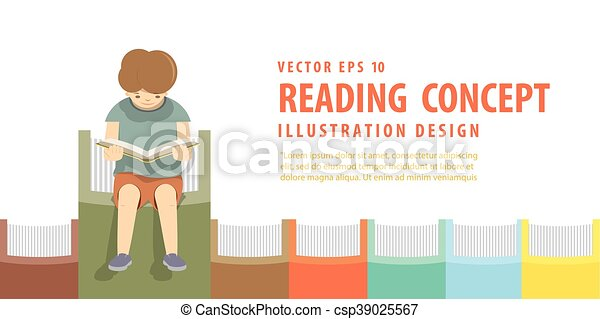 Boy Reading On The Books In A Row White Background Illustration Vector. 0b0cf412a09a