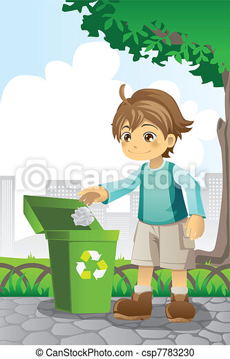 Boy recycling paper - csp7783230