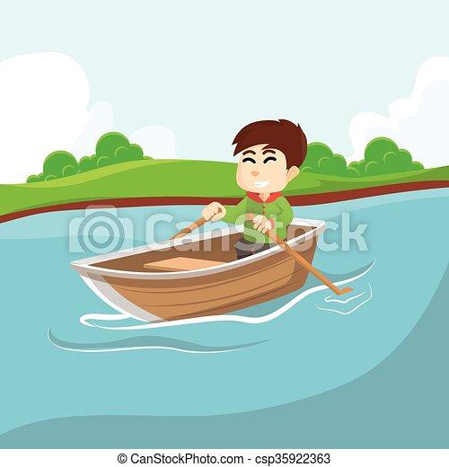 Boy Rowing Boat Vector