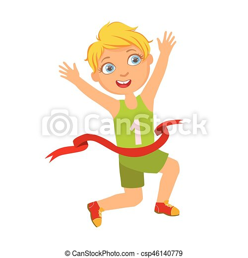 Boy run to the finish line first, a colorful character - csp46140779