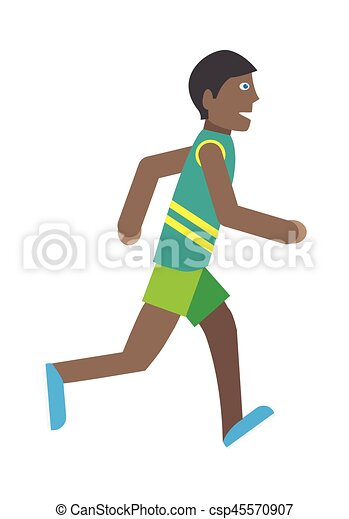 Boy Runs Isolated on White. Young Jogger Athlete - csp45570907