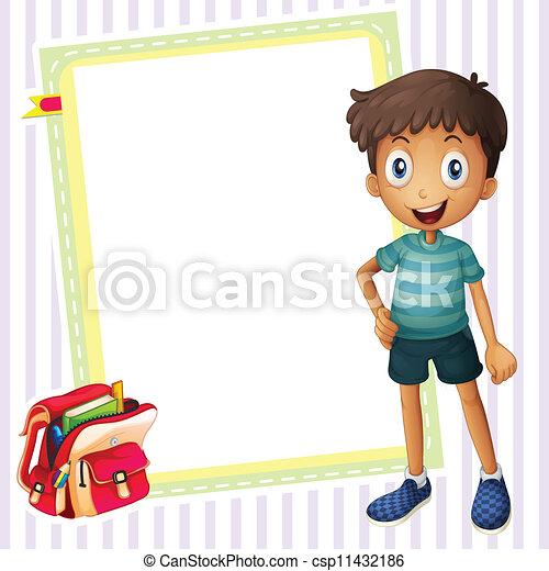 boy, school bag and white board - csp11432186