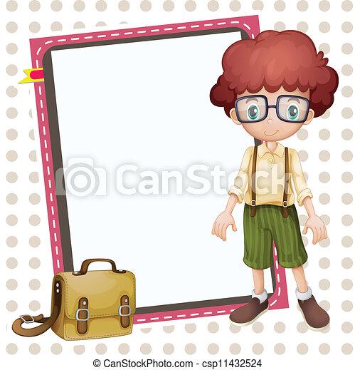 boy, school bag and white board - csp11432524