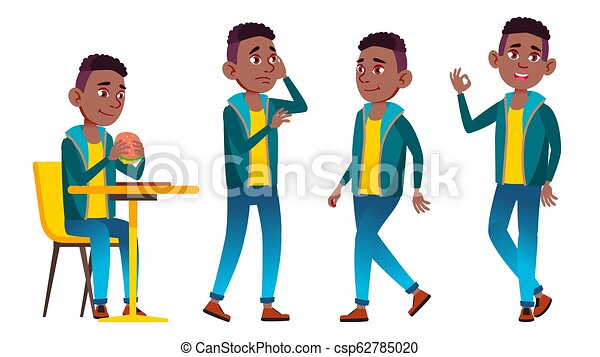 Boy Schoolboy Kid Poses Set Vector. Black. Afro American. High School Child. Child Pupil. Subject, Clever, Studying. For Postcard, Announcement, Cover Design. Isolated Cartoon Illustration - csp62785020
