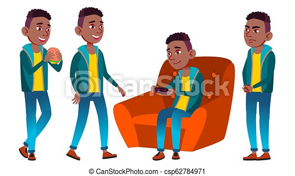 Boy Schoolboy Kid Poses Set Vector. Black. Afro American. High School Child. Secondary Education. Educational, Lecture. For Card, Advertisement, Greeting Design. Isolated Cartoon Illustrat - csp62784971