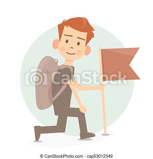 Boy scout cartoon holding flag  Cartoon character illustration