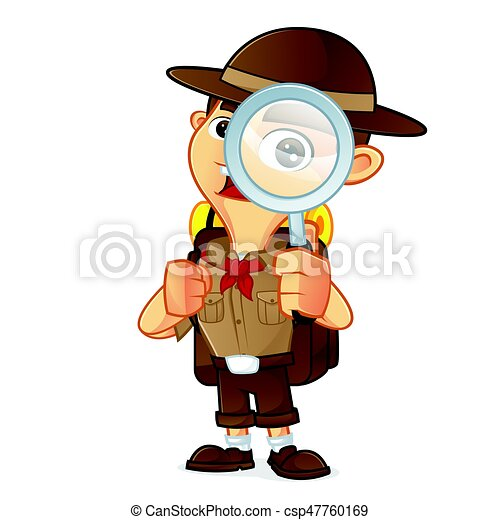 boy scout cartoon holding magnifying glass isolated in white clip rh canstockphoto com boy scout camping clipart boy scout logo clipart