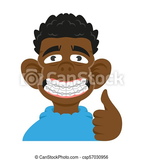 Head Cute Smile Black Young Boy Show Braces Teeth He Is Really