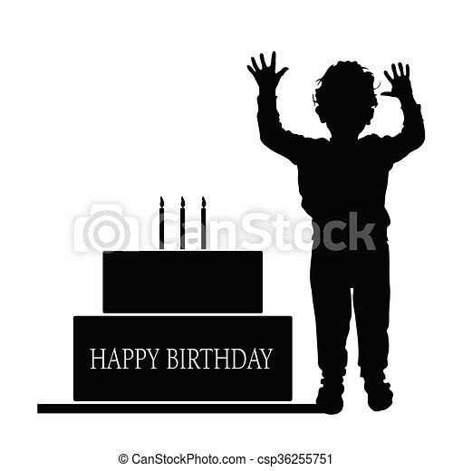 boy silhouette illustration with birthday cake - csp36255751