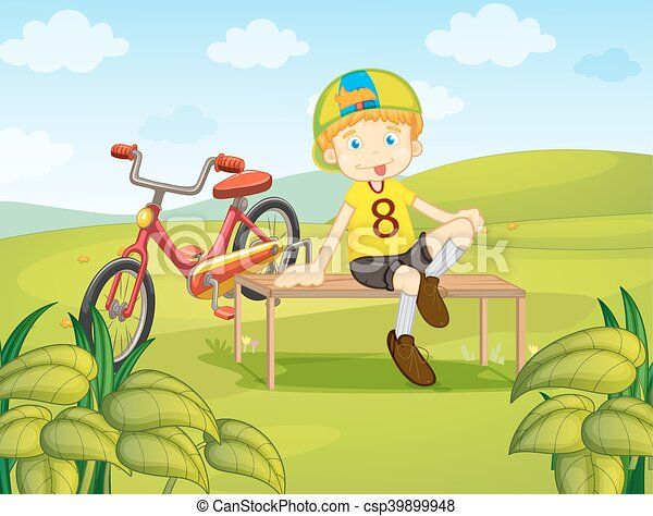Boy sit on bench in the park - csp39899948