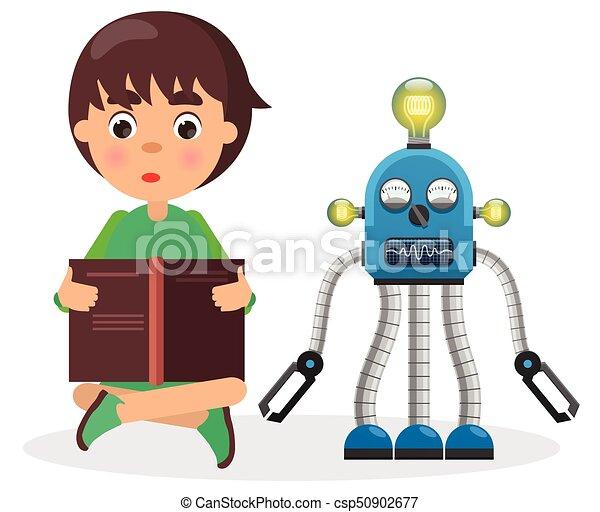 Boy Sits and Reads Book Beside Robot with Lamps - csp50902677