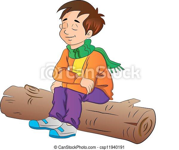 Boy Sitting on a Log, illustration - csp11940191