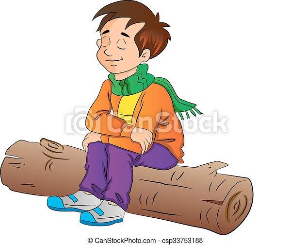 Boy Sitting on a Log, illustration - csp33753188