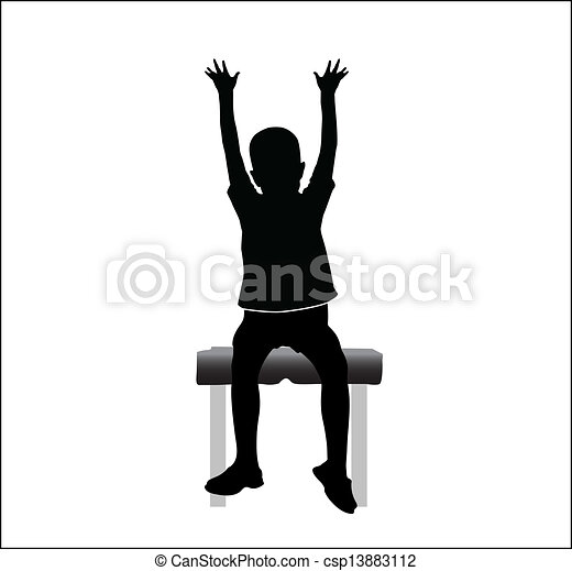 Boy sitting on chair with hands up  - csp13883112