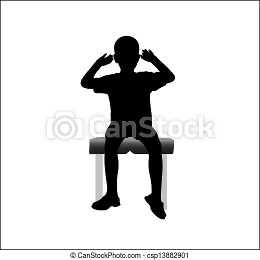 Boy sitting on chair with hands up  - csp13882901