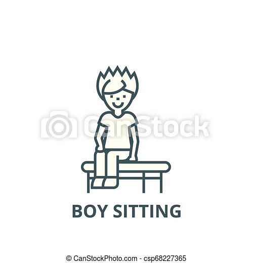 Stupendous Boy Sitting On The Bench Line Icon Vector Boy Sitting On The Bench Outline Sign Concept Symbol Flat Illustration Gmtry Best Dining Table And Chair Ideas Images Gmtryco