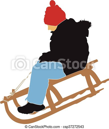 boy sledging down on the snow - csp37272543