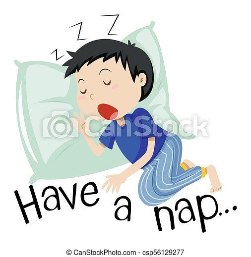 Boy sleeping with phrase have a nap - csp56129277