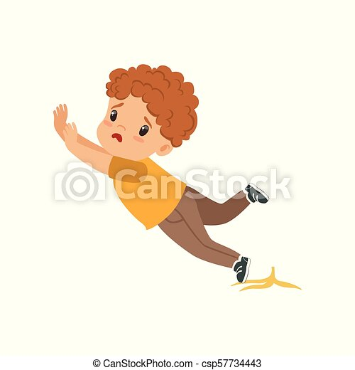 Boy slipping on a banana peel vector Illustration on a white background - csp57734443