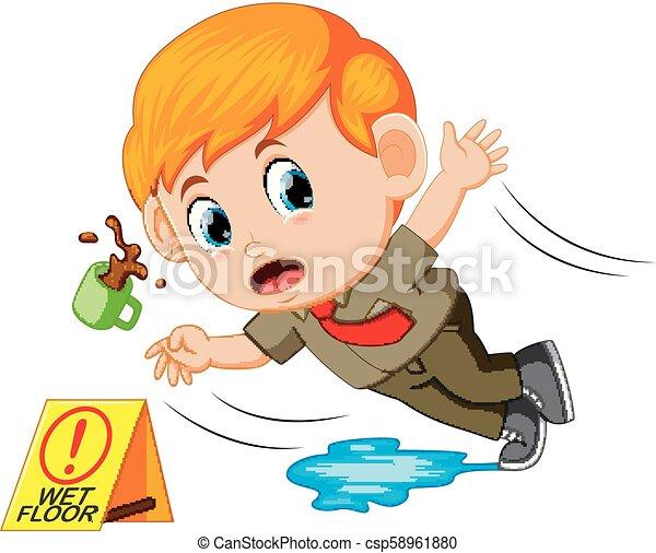 boy slipping on wet floor - csp58961880