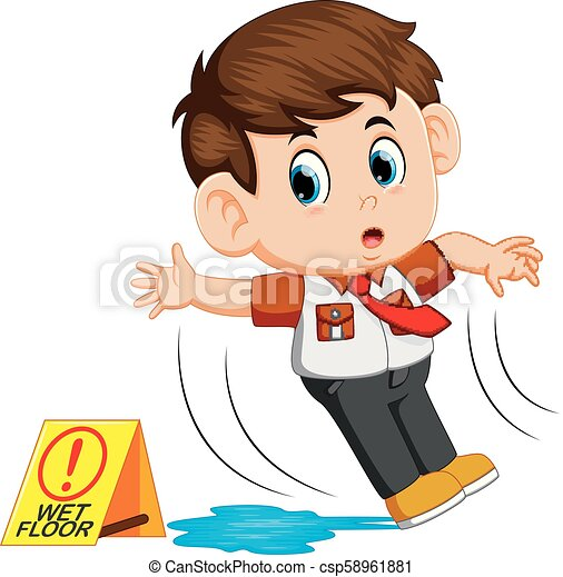 boy slipping on wet floor - csp58961881