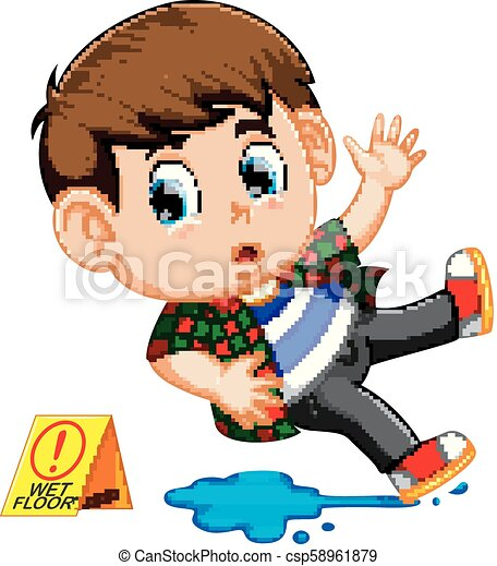 boy slipping on wet floor - csp58961879
