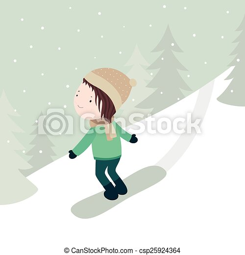 Boy Snowboarding Vector Cartoon Illustration Of Little Boy Ride The Mountain On A Snowboard